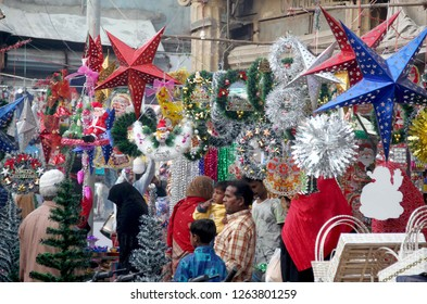 KARACHI, PAKISTAN - DEC 20: Christmas belongings items are being selling in connection of Christmas Celebration ceremony coming ahead, at Saddar area  on December 20, 2018 in Karachi.