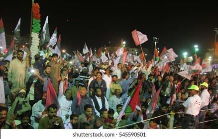 KARACHI, PAKISTAN - DEC 30: Activists of MQM (Pakistan) are attending gathering at Nishtar Park on called of Dr. Farooq Sattar against anti Pakistan elements, on December 30, 2016 in Karachi.