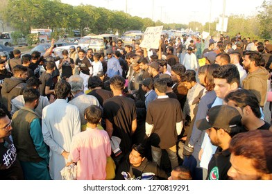 KARACHI, PAKISTAN - DEC 30: Residents of Karachi protest against shortage of drinking water in city, arranged by FixIt social campaign outside WSB Headquarters on December 30, 2018 in Karachi.