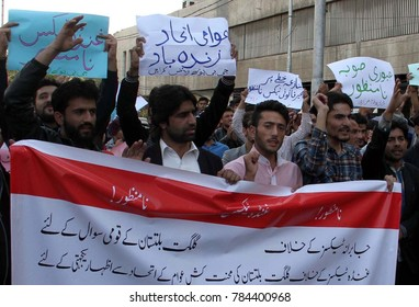 KARACHI, PAKISTAN - DEC 31:Youth of Gilgit Baltistan are holding protest demonstration for their social rights outside press club on December 31, 2017 in Karachi.