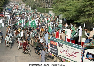 """KARACHI, PAKISTAN - FEB 05: Members of PDC are holding protest rally against India and in favor of Kashmiri People on the occasion of """"Kashmir Solidarity Day"""" on February 05, 2018 in Karachi."""