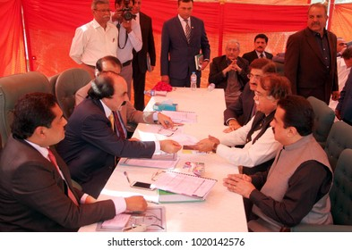 KARACHI, PAKISTAN - FEB 07: Senate elections candidates of Peoples Party (PPP) gather during verification of their nomination papers at election commission office on February 07, 2018 in Karachi.