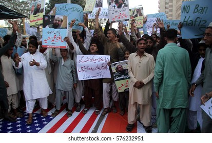 KARACHI, PAKISTAN - FEB 10: Difa-e-Pakistan Council are holding protest  demonstration in favor of Jamat-ud-Dawah Chief, as they are demanding to end his house arrest, on February 10, 2017 in Karachi.