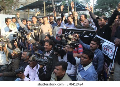 KARACHI, PAKISTAN - FEB 13: Journalists are protesting against killing of media person  Taimoor who gunned down by unidentified persons, in North Nazimabad area on February 13, 2017 in Karachi.