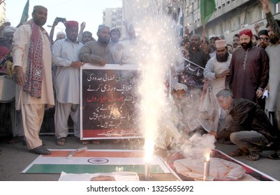 KARACHI, PAKISTAN - FEB 27: Activists of Sunni Tehreek are holding celebration demonstration in favor of Pakistan Armed Forces and against Indian Forces aggression, on February 27, 2019 in Karachi.