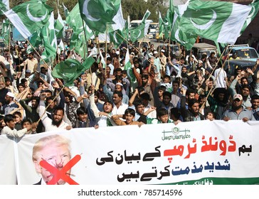 KARACHI, PAKISTAN - JAN 02: Activists of Jamat-ud-Dawah holding protest demonstration against US President Donald Trump at M.A Jinnah Road on January 02, 2018 in Karachi.