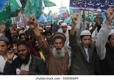 KARACHI, PAKISTAN - JAN 06: Activists of Jamiat-e-Ahle Hadith are holding protest  demonstration against massacre of Muslims in Burma and Syria, on January 06, 2017 in Karachi.