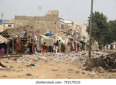 KARACHI, PAKISTAN - JAN 11: Anti encroachment under supervision of police is being carried out in Malir locality to clear circular railway track, on January 11, 2018 in Karachi.