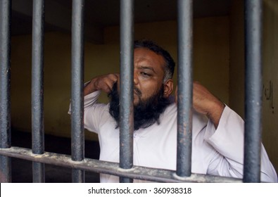 KARACHI, PAKISTAN - JAN 11: Man named Shafiq who scuffled with traffic police wardens is lockup at Civil Lines Police Station on January 11, 2016  in Karachi.