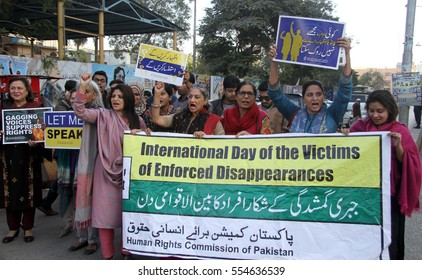 KARACHI, PAKISTAN - JAN 12: Members of Civil Society protesting against forced  disappearance of social activists, on January 12, 2017 in Karachi.
