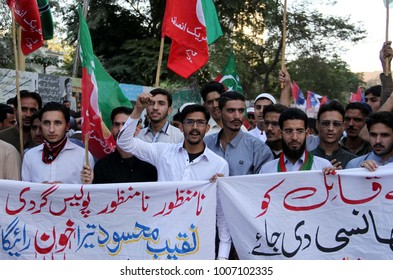 KARACHI, PAKISTAN - JAN 21: Members of (PTI) are holding protest demonstration against extra judicial killing of Naqeeb Ullah as they are demanding for justice, on January 21, 2018 in Karachi