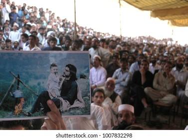KARACHI, PAKISTAN - JAN 22: Tribal Jirgah of Mehsoods is underway at Sohrab Goth against murder of Naqeeb Ullah who killed in fake police encounter,  on January 22, 2018 in Karachi.
