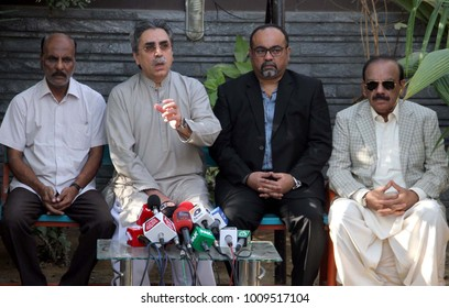 KARACHI, PAKISTAN - JAN 24: MQM-P Rabbitta Committee, Amir Khan along with father of Intezar Ahmed who killed in an encounter in DHA, talking to media persons, on January 2018 in Karachi .