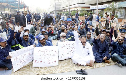 KARACHI, PAKISTAN - JAN 29: Employees of Fire Brigade are holding protest demonstration against non-payment of their salaries, at Karachi press club on January 29, 2019 in Karachi.