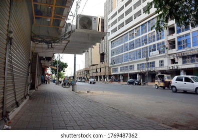 KARACHI, PAKISTAN - JUL 04: Closed shops at a market while business activities shutdown during smart lockdown imposed government due to increasing in coronavirus cases  on July 4, 2020 in Karachi.