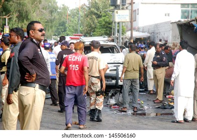 KARACHI, PAKISTAN - JUL 10: suicidal bomb blast attack on Pakistan President, security chief, Bilal Sheikh. At least three people killed and eleven others were injured   on July 10, 2013 in Karachi.