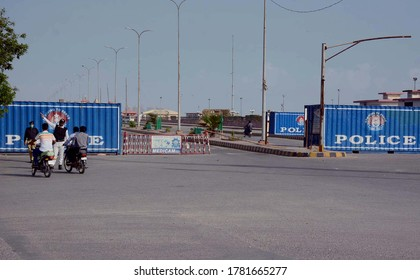 KARACHI, PAKISTAN - JUL 22: View of road seen closed from DHA to Seaview Beach due to smart lockdown as a preventive measure against the spread of the coronavirus on July 22, 2020 in Karachi.