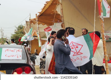 KARACHI, PAKISTAN: July 25: Party supporters casting their votes in Karachi, Pakistan on July 25th, 2018. Pakistan's national elections took place on July 25th, 2018.