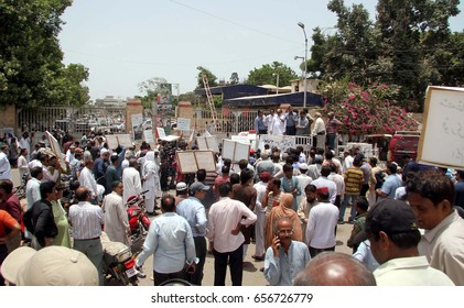 KARACHI, PAKISTAN - JUN 09: Union councilors, UC-Chairmen are holding protest demonstration led by Mayor Metropolitan, Wasim Akhtar against non issuance of budget, on June 09, 2017 in Karachi.