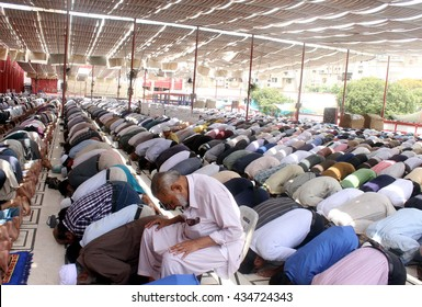 KARACHI, PAKISTAN - JUN 10: Muslims offering Salat-e-Jumma prayer on the eve of first Friday during the holy month of Ramzan-ul-Mubarak, Memon Masjid on June 10, 2016 in Karachi.