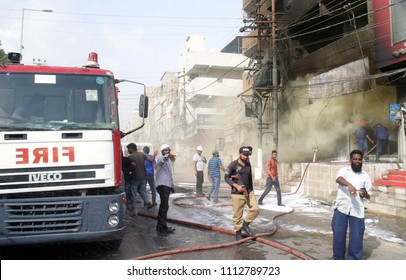 KARACHI, PAKISTAN - JUN 14: View of venue after fire broken out incident at furniture shop located on Gulshan-e-Iqbal Town area on June 14, 2018 in Karachi.
