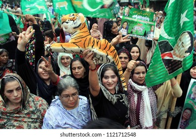 KARACHI, PAKISTAN - JUN 26: Supporters of (PML-N) are showing their zeal during public gathering meeting regarding General Election Campaign 2018 held at Lyari area on June 26, 2018 in Karachi.