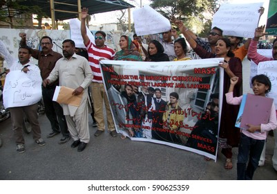 KARACHI, PAKISTAN - MAR 01: People from Christian community are holding protest  demonstration against injustice, on March 01, 2017 in Karachi.