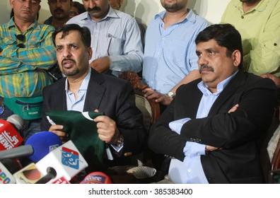 KARACHI, PAKISTAN - MAR 03: Former Mayor of Karachi, Mustafa Kamal talking to media persons during a press conference held at his residence on March 03, 2016 in Karachi.
