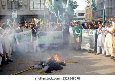 KARACHI, PAKISTAN - MAR 04: Pak-Kashmir Ittehad Welfare Trust are holding Pakistan Defence Rally in favor of Pakistan Armed forces and against Indian Forces aggression, on March 04, 2019 in Karachi.