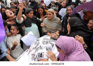 KARACHI, PAKISTAN - MAR 13: Relatives of Muhammad Ashraf are holding protest  demonstration against his murder as they are demanding for justice, on March 13, 2017 in Karachi.