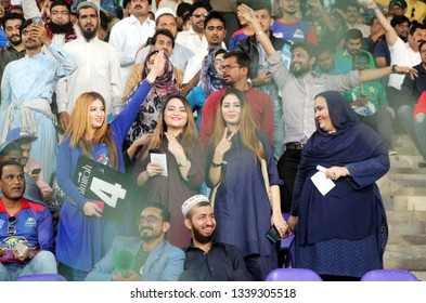KARACHI, PAKISTAN - MAR 14: Cricket lovers are showing their zeal during (PSL-4) Playoff match between Karachi Kings and Islamabad United held at National Stadium on March 14, 2019 in Karachi.