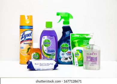 Karachi, Pakistan - March 19, 2020: Different brands of disinfectant to kill Corona Virus including Lysol and Dettol.