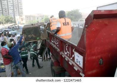KARACHI, PAKISTAN - NOV 05: Demolishing illegal encroachment during anti encroachment drive under the supervision of KMC over directions of Supreme Court orders, on November 05, 2018 in Karachi.