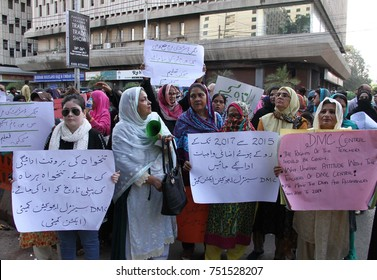 KARACHI, PAKISTAN - NOV 08: Government teachers are holding protest demonstration against nonpayment of their salaries, on November 08, 2017 in Karachi.