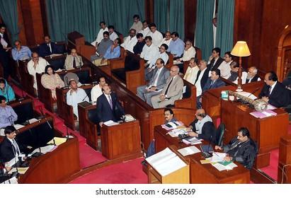 KARACHI, PAKISTAN - NOV 10: Sindh Assembly Speaker, Nisar Ahmed Khoro, presides over provincial assembly session held at assembly building hall on November 10, 2010 in Karachi, Pakistan.
