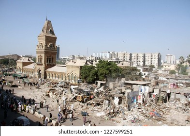 KARACHI, PAKISTAN - NOV 11: Demolishing illegal encroachment during anti encroachment drive under the supervision of KMC over directions of Supreme Court orders, on November 11, 2018 in Karachi.