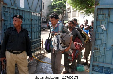 KARACHI, PAKISTAN - NOV 11: Indian fishermen are in custody of dockyard police on November 11, 2018 in Karachi Pakistani authorities have arrested 12 fishermen for illegal fishing in territorial water