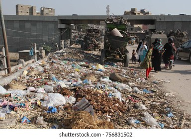 KARACHI, PAKISTAN - NOV 16: Huge heap of garbage creating problems for commuters as it is showing negligence of concerned authorities, nearby Liaquatabad Sindhi Hotel on  November 16 2017 in Karachi.