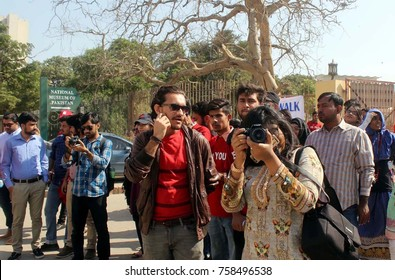 KARACHI, PAKISTAN - NOV 19: Students of different universities are participating in Photo Walk to give awareness about historical buildings  on November 19, 2017 in Karachi.