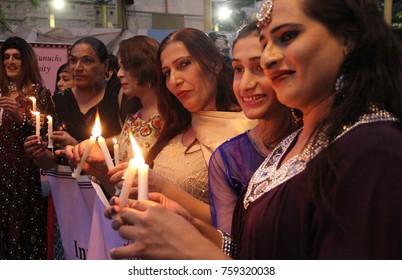 KARACHI, PAKISTAN - NOV 20: On the occasion of International Transgender Day, eunuchs  are holding demonstration against gender violation, outside press club, November 20, 2017. in Karachi