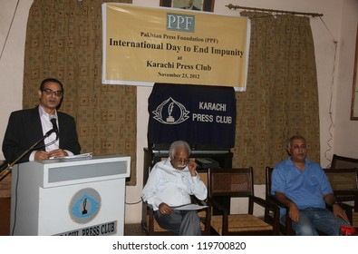 KARACHI, PAKISTAN - NOV 23: (PPF) Secretary General, Owais Aslam Ali addresses during a seminar in connection of international Day to End Impurity.  on  November 23, 2012 in Karachi.
