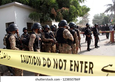 KARACHI, PAKISTAN - NOV 23: Security officials are cordon off Chinese consulate after bomb blast on November 23, 2018 in Karachi Security forces successfully foiled an attack on the Chinese consulate.