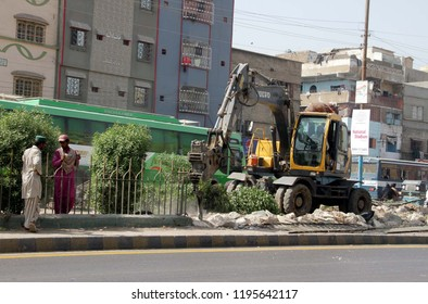 KARACHI, PAKISTAN - OCT 04: Anti encroachment operation in progress demolishing illegal encroachment during anti encroachment drive under the supervision of (KMC), on October 04, 2018 in Karachi.