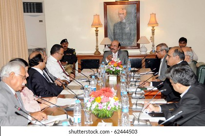 KARACHI, PAKISTAN, OCT 05: Sindh Chief Minister, Syed Qaim Ali Shah presides over meeting with UNDP Delegation held at CM House on October 5, 2010 in Karachi, Pakistan.