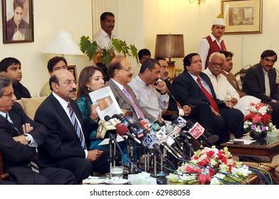 KARACHI, PAKISTAN - OCT 13: Sindh Chief Minister, Syed Qaim Ali Shah, addresses press conference at CM House on October 13, 2010 in Karachi, Pakistan.