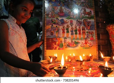 KARACHI, PAKISTAN - OCT 19: Hindu community of Karachi celebrating festival Diwali on October 19, 2017in Karachi.