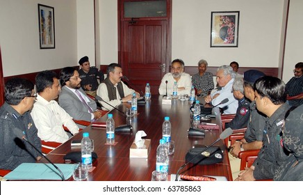 KARACHI, PAKISTAN - OCT 23: Sindh Home and Prison Minister, Dr.Zulfiqar Ali Mirza, presides Jail Reforms meeting held at home secretary office on October 23, 2010 in Karachi.