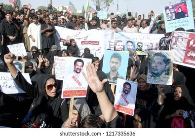 KARACHI, PAKISTAN - OCT 30: Relatives of Shia Missing persons are holding protest demonstration for recovery of missing persons during Shiite religious procession October 30, 2018 in Karachi.