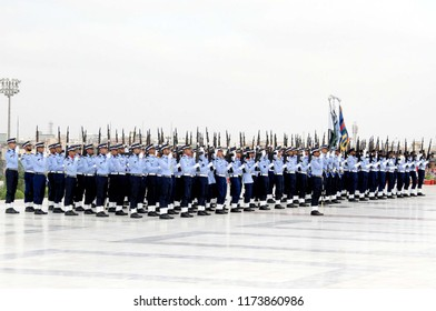 KARACHI, PAKISTAN - SEP 06: Pakistan Air Force cadets performing march past during change of guards ceremony held on the occasion of Defence Day of Pakistan, on September 06, 2018 in Karachi.