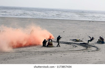 KARACHI, PAKISTAN - SEP 06: A commando exercise being exposed by PN during ceremony to pay homage to the Ghazis and Shuhada on the occasion of Defence Day of Pakistan, on September 06, 2018 in Karachi